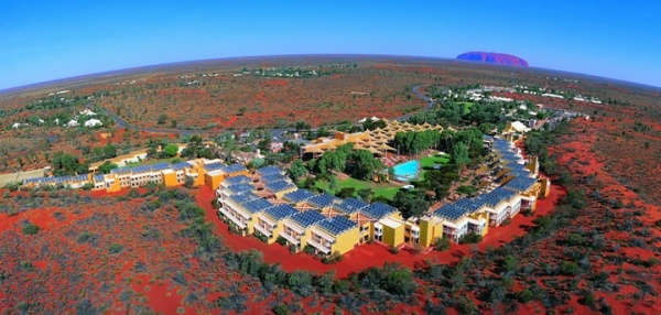 Aerial shot of the Ayers Rock resort